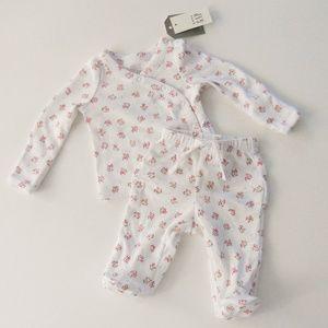 Baby Gap Rosebud Footie Snap Tee Set Size Newborn